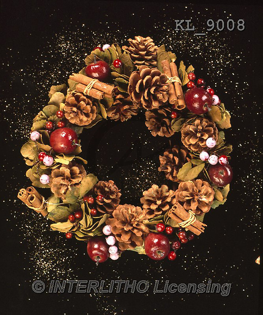 Interlitho, CHRISTMAS SYMBOLS, WEIHNACHTEN SYMBOLE, NAVIDAD SÍMBOLOS, photos+++++,spices wreath,KL9008,#xx#