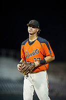 AZL Giants shortstop Francisco Medina (37) jogs off the field between innings of the game against the AZL Athletics on August 5, 2017 at Scottsdale Stadium in Scottsdale, Arizona. AZL Athletics defeated the AZL Giants 2-1. (Zachary Lucy/Four Seam Images)