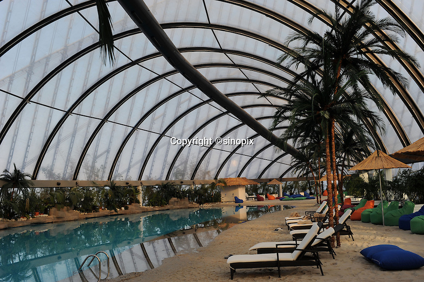 The massive tented shopping complex has an indoor beach in the upper floors using sand imported from the Maldives in the newly built capitol of Kazakhstan, called Astana which translates as &quot;capitol&quot; , 20th October 2010.<br />