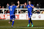 Ollie Palmer of Grimsby Town celebrates scoring the opening goal against Woking with Carl Magnay of Grimsby Town during the Vanamara Conference League match at the Kingfield Stadium, Woking, Surrey<br /> Picture by David Horn/eXtreme aperture photography +44 7545 970036<br /> 07/03/2015