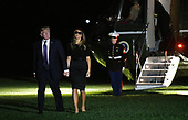 United States President Donald J. Trump and first lady Melania Trump return to the White House from Las Vegas, Nevada October 4, 2017. The President and the first lady visited with civilian heroes and first responders from the deadliest mass shooting in US history. <br /> Credit: Olivier Douliery / Pool via CNP