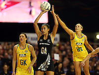 15.09.2013 Silver Ferns Maria Tutaia in action during the Silver Ferns V Australian Diamonds New World Netball Series played at SIT Zero Fees Velodrome in Invercargill. Mandatory Photo Credit ©Michael Bradley.