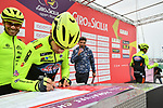 Neri Sottoli–Selle Italia–KTM at sign on before the start of Stage 2 of Il Giro di Sicilia running 236km from Capo d'Orlando to Palermo, Italy. 4th April 2019.<br /> Picture: LaPresse/Massimo Paolone | Cyclefile<br /> <br /> <br /> All photos usage must carry mandatory copyright credit (© Cyclefile | LaPresse/Massimo Paolone)