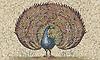 28 x 47 inch Roman African Peacock in hand chopped tumbled Persian Gold, Breccia Pernice, Luna, Chartreuse, Rosa Verona, Red Lake, Renaissance Bronze, Blue Bahia, Bardiglio, Carrara, Blue Macauba, Nero Marquina, Giallo Reale, Saint Richard