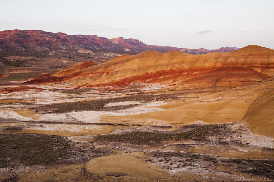 A section of the Painted Hills area of the John Day Fossil Beds National Monument is seen in the evening light near sunset in Wheeler County, Oregon.