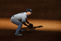 Jayson Nix #17 of the New York Yankees plays third base during a game against the Los Angeles Angels at Angel Stadium on June 15, 2013 in Anaheim, California. (Larry Goren/Four Seam Images)