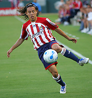 CD Chivas USA midfielder Francisco Mendoza (6) traps a ball. CD Chivas USA beat Real Salt Lake 1-0 in a MLS game at the Home Depot Center in Carson, California, Sunday, August 26, 2007.