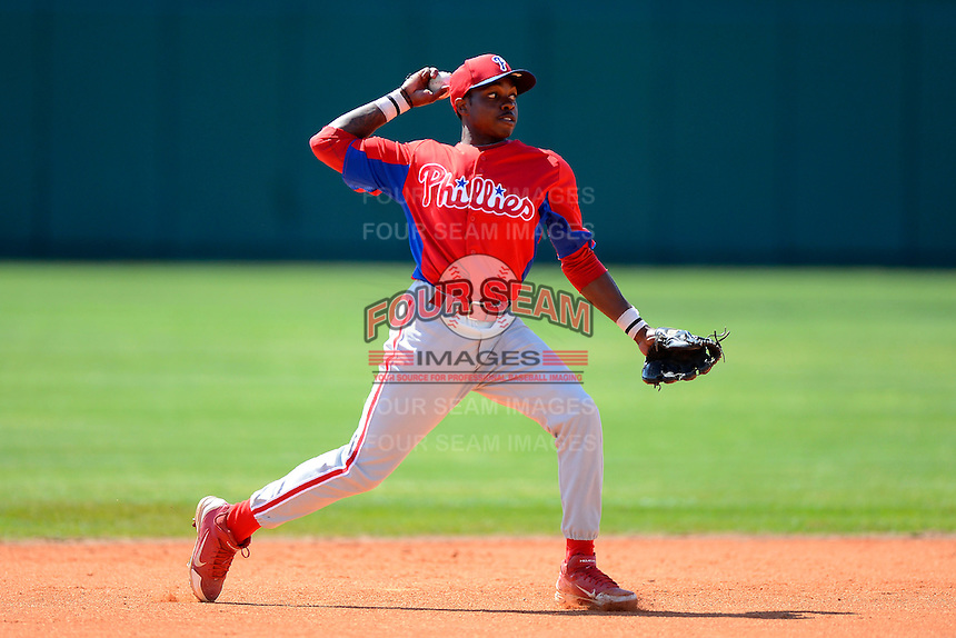Philadelphia Phillies infielder Roman Quinn (4) during practice before a minor league Spring Training game against the Atlanta Braves at Al Lang Field on March 14, 2013 in St. Petersburg, Florida.  (Mike Janes/Four Seam Images)