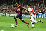 UEFA Champions League 2013/2014.<br /> FC Barcelona vs AFC Ajax: 4-0 - Game: 1.<br /> Neymar vs Van Rhijn