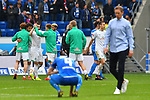 11.05.2019, PreZero Dual Arena, Sinsheim, GER, 1. FBL, TSG 1899 Hoffenheim vs. SV Werder Bremen, <br /> <br /> DFL REGULATIONS PROHIBIT ANY USE OF PHOTOGRAPHS AS IMAGE SEQUENCES AND/OR QUASI-VIDEO.<br /> <br /> im Bild: Freude bei Nuri Sahin (SV Werder Bremen #17), Milos Veljkovic (SV Werder Bremen #13), Marco Friedl (SV Werder Bremen #32), Kevin M&ouml;hwald / Moehwald / Mohwald (SV Werder Bremen #6), Johannes Eggestein (SV Werder Bremen #24)<br /> <br /> Foto &copy; nordphoto / Fabisch