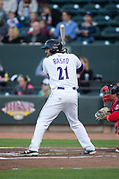 Nick Basto (21) of the Winston-Salem Dash at bat against the Salem Red Sox at BB&T Ballpark on April 15, 2016 in Winston-Salem, North Carolina.  The Red Sox defeated the Dash 3-2.  (Brian Westerholt/Four Seam Images)
