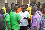 De La Salle Brother Joseph Alak, the school's director, talks with boys in the De La Salle Brothers Secondary School, temporarily located in the Loreto School in Rumbek, South Sudan.