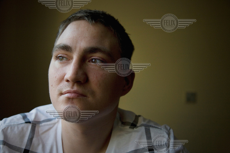 Sam Butler in a care home in Peterborough. 25 year old Sam Butler was born with HIV as his mother was a heroin addict; he was also born addicted to the drug. Sam is now suffering from Aids-related brain degeneration.