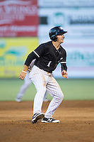 Danny Mendick (1) of the Kannapolis Intimidators takes his lead off of second base against the Greenville Drive at Intimidators Stadium on June 7, 2016 in Kannapolis, North Carolina.  The Drive defeated the Intimidators 5-2 in game two of a double header.  (Brian Westerholt/Four Seam Images)