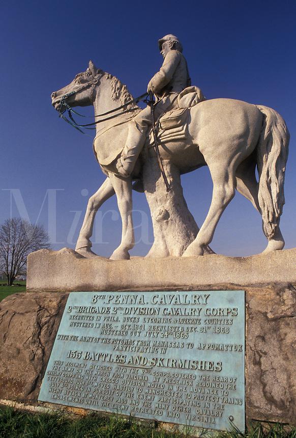 AJ4046, Gettysburg, Gettysburg National Military Park, civil war, battlefield, Pennsylvania, 8th Pennsylvania Cavalry Memorial in Gettysburg Nat'l Military Park in Gettysburg in the state of Pennsylvania.