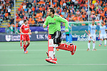 The Hague, Netherlands, June 15: George Pinner #1 of England returns on the pitch during the field hockey bronze match (Men) between Argentina and England on June 15, 2014 during the World Cup 2014 at Kyocera Stadium in The Hague, Netherlands. Final score 2-0 (0-0)  (Photo by Dirk Markgraf / www.265-images.com) *** Local caption ***