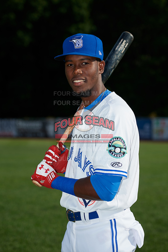 Bluefield Blue Jays Luis De Los Santos (1) poses for a photo before a game against the Bristol Pirates on July 26, 2018 at Bowen Field in Bluefield, Virginia.  Bristol defeated Bluefield 7-6.  (Mike Janes/Four Seam Images)