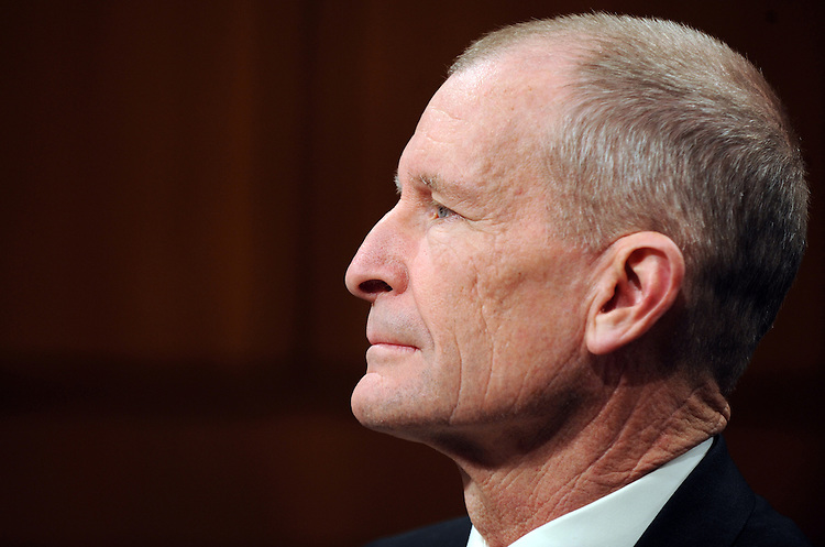 Admiral Dennis Blair listens to opening statements at his confirmation hearing for Director of National Intelligence before the Senate Select Committee on Intelligence, January 22, 2009.