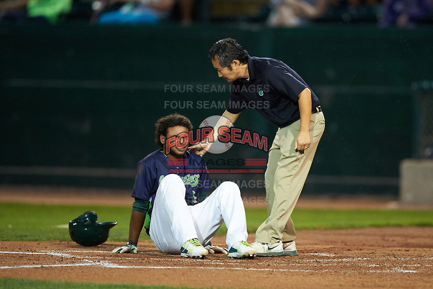 Vermont Lake Monsters designated hitter Vicmal De La Cruz (3) reacts to getting hit as trainer Toshi Nagahara comes out to check on him during a game against the Hudson Valley Renegades on September 3, 2015 at Centennial Field in Burlington, Vermont.  Vermont defeated Hudson Valley 4-1.  (Mike Janes/Four Seam Images)