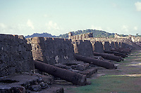 A row of cannon at Fuerte San Jeronimo, the largest fort built by the Spanish to protect the bay at Portobelo on the Caribbean coast of Panama