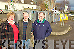 DUMPING: Killorglin Community Council and Tidy Towns members who are concerned about dumping at the bottle banks at the Fair Field, l-r: Fionnuala Sarsfield, Billy Browne, John Healy.