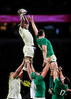 Maro Itoje of England wins the ball at a lineout. RBS Six Nations match between England and Ireland on February 27, 2016 at Twickenham Stadium in London, England. Photo by: Patrick Khachfe / Onside Images