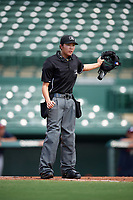 Umpire Emma Charlesworth-Seiler signals a fair ball during an Instructional League game between the Atlanta Braves and Baltimore Orioles on September 25, 2017 at the Ed Smith Stadium in Sarasota, Florida.  (Mike Janes/Four Seam Images)