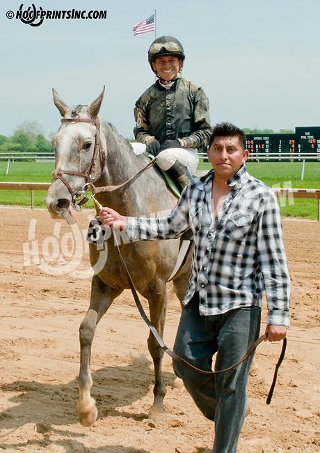 Fragancia winning at Delaware Park on 5/22/13 - Pedro Nazario's 1st career win!.