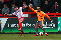 Danny Newton of Stevenage and Leandro Bacuna of Reading during Stevenage vs Reading, Emirates FA Cup Football at the Lamex Stadium on 6th January 2018