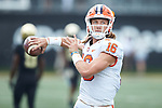 Clemson Tigers quarterback Trevor Lawrence (16) warms-up prior to the game against the Wake Forest Demon Deacons at BB&T Field on October 6, 2018 in Winston-Salem, North Carolina. The Tigers defeated the Demon Deacons 63-3. (Brian Westerholt/Sports On Film)