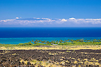 lava field, palm tree groves, Kiholo Bay, Haleakala volcanic mountain (10,023 ft) of Maui and Pacific Ocean in backgound, scenic view from Kohala Coast, Big Island, Hawaii, USA