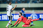 FC Schalke Midfielder Amine Harit (R) trips up with Besiktas Istambul Goalkeeper Tolga Zengin (C)during the Friendly Football Matches Summer 2017 between FC Schalke 04 Vs Besiktas Istanbul at Zhuhai Sport Center Stadium on July 19, 2017 in Zhuhai, China. Photo by Marcio Rodrigo Machado / Power Sport Images