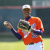 Clemson outfielder Chris Epps (26) prior to a game between the Charlotte 49ers and Clemson Tigers Feb. 22, 2009, at Doug Kingsmore Stadium in Clemson, S.C. (Photo by: Tom Priddy/Four Seam Images)