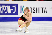 Thursday, March 31, 2016: Gracie Gold (USA) competes in the Ladies Short Program at the International Skating Union World Championship held at TD Garden, in Boston, Massachusetts. Gold scored 76.43 to finish the short program in first place. Eric Canha/CSM