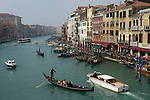 Venice-Italy - March 27, 2010 -- Traffic on Grand Canal / Canal Grande (not: Canale Grande) with gondolas and motor boats, seen from Rialto Bridge -- infrastructure, transport, water, tourism -- Photo: © HorstWagner.eu