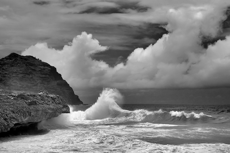 Waves off southern Kauai Coast. Hawaii