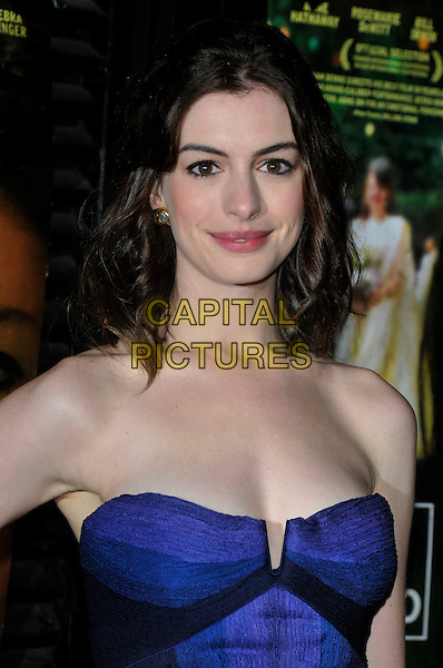"ANNE HATHAWAY.""Rachel Getting Married"" screening at The 52nd London Film Festival, Odeon West End cinema, Leicester Square, London England..20th October 2008.portrait headshot premiere red carpet strapless blue black and purple striped .CAP/PL.©Phil Loftus/Capital Pictures"