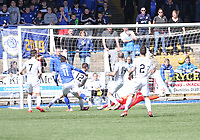 Stephen Dobbie scores the opening goal in the SPFL Ladbrokes Championship Play Off semi final match between Queen of the South and Montrose at Palmerston Park, Dumfries on  11.5.19.