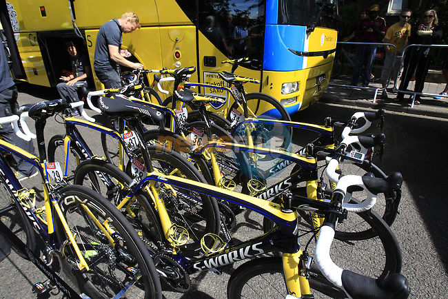 Tinkoff-Saxo team Specialized bikes outside the team bus at sign on in Cambridge before the start of Stage 3 of the 2014 Tour de France running 155km from Cambridge to London. 7th July 2014.<br /> Picture: Eoin Clarke www.newsfile.ie