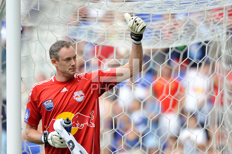 New York Red Bulls goalkeeper Greg Sutton (24) gives a thumbs up to the crowd afrer the game. The New York Red Bulls defeated Manchester City F. C.2-1 during a Barclays New York Challenge match at Red Bull Arena in Harrison, NJ, on July 25, 2010.