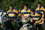 The Patumahoe front row of P. Taula, I. Maasi & C. Mooney prepare to pack down in a scrum. Counties Manukau Premier Club Rugby, Patumahoe vs Manurewa played at Patumahoe on Saturday 6th May 2006. Patumahoe won 20 - 5.