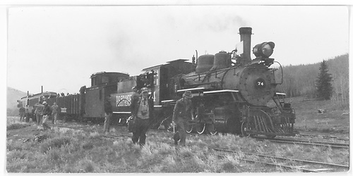 RGS #74 with excursion train at Peake siding at Dallas Divide.<br /> RGS  Peake, CO  Taken by Maxwell, John W. - 5/28/1949