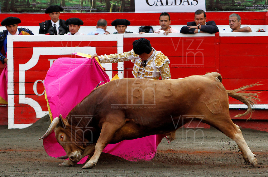MANIZALES-COLOMBIA. 06-01-2016: Guerrita Chico, lidiando a Gitanillo de 452kg de la ganadería Mondoñedo durante la segunda corrida como parte de la versión número 60 de La Feria de Manizales 2016 que se lleva a cabo entre el 2 y el 10 de enero de 2016 en la ciudad de Manizales, Colombia. / The bullfighter Guerrita Chico, struggling to Gitanillo de 452kg during the second bullfight as part of the 60th version of Manizales Fair 2016 takes place between 2 and 10 January 2016 in the city of Manizales, Colombia. Photo: VizzorImage / Santiago Osorio / Cont