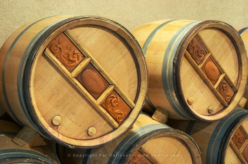 Oak barrel aging and fermentation cellar. Clos de l'Obac, Costers del Siurana, Gratallops, Priorato, Catalonia, Spain.