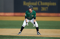 Chris Lanzilli (24) of the Wake Forest Demon Deacons takes his lead off of first base against the Louisville Cardinals at David F. Couch Ballpark on March 17, 2018 in  Winston-Salem, North Carolina.  The Cardinals defeated the Demon Deacons 11-6.  (Brian Westerholt/Four Seam Images)