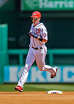 14 April 2018: Washington Nationals catcher Matt Wieters rounds the bases after hitting a solo home run in the 4th inning against the Colorado Rockies at Nationals Park in Washington, DC. The Nationals rallied to defeat the Rockies 6-2 in the 3rd game of their 4-game series. Mandatory Credit: Ed Wolfstein Photo *** RAW (NEF) Image File Available ***