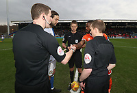 Blackburn Rovers' Charlie Mulgrew and Shrewsbury Town's Abu Ogogo with todays match officials <br /> <br /> Photographer Rachel Holborn/CameraSport<br /> <br /> The EFL Sky Bet League One - Blackburn Rovers v Shrewsbury Town - Saturday 13th January 2018 - Ewood Park - Blackburn<br /> <br /> World Copyright &copy; 2018 CameraSport. All rights reserved. 43 Linden Ave. Countesthorpe. Leicester. England. LE8 5PG - Tel: +44 (0) 116 277 4147 - admin@camerasport.com - www.camerasport.com