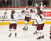 Kristyn Capizzano (BC - 7), Tori Sullivan (BC - 9), Meghan Grieves (BC - 17), Grace Bizal (BC - 2) - The Boston College Eagles defeated the Northeastern University Huskies 5-1 (EN) in their NCAA Quarterfinal on Saturday, March 12, 2016, at Kelley Rink in Conte Forum in Boston, Massachusetts.