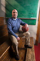 NWA Democrat-Gazette/CHARLIE KAIJO Greenwood coach Clay Reeves poses for a portrait, Monday, March 12, 2018 at Springdale High School auxiliary gym in Springdale