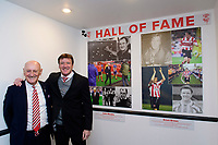 Lincoln City&rsquo;s record appearance holder, Grant Brown, right, is inducted into the club&rsquo;s Hall of Fame. Brown is pictured alongside former Lincoln City manager Colin Murphy, the inaugural person inducted into the Hall of Fame.<br /> <br /> Photographer Chris Vaughan/CameraSport<br /> <br /> The EFL Sky Bet League Two - Lincoln City v Cheltenham Town - Saturday 13th April 2019 - Sincil Bank - Lincoln<br /> <br /> World Copyright &copy; 2019 CameraSport. All rights reserved. 43 Linden Ave. Countesthorpe. Leicester. England. LE8 5PG - Tel: +44 (0) 116 277 4147 - admin@camerasport.com - www.camerasport.com